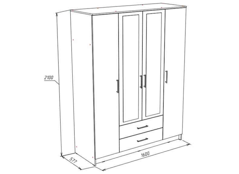 Шкаф 4-х дверный Бергамо